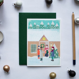 Christmas Carol Singers Greeting Card