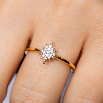 14k Gold Vermeil Mini Starburst Ring In Diamond