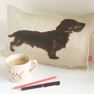 Wire/Rough Hair Dachshund Mini Bolster Cushion - living room