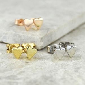 Tiny Handmade Solid Gold Heart Studs