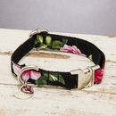 The Chelsea Pink And Black Floral Dog Collar