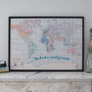 Personalised Printed Fabric World Map Noticeboard - noticeboards