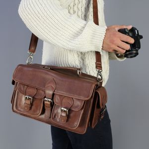 Vintage Style Leather Camera Bag - 21st birthday gifts
