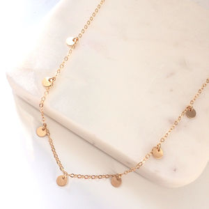Gold Coin Disc Necklace - jewellery
