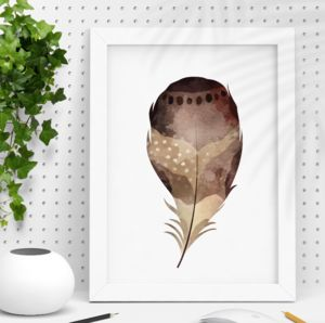 Natural Watercolour Feather Illustration Print