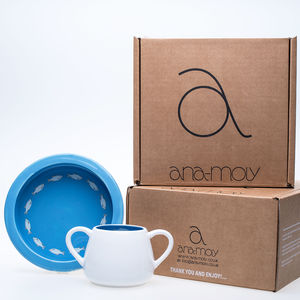 Baby Fish Porringer Bowl And Mug Gift Set - children's tableware