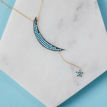 Large Moon And Star Necklace Gold Turquoise