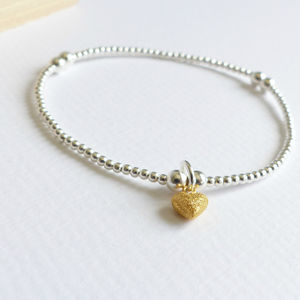 Sterling Silver Tiny Gold Frosted Heart Beaded Bracelet - bracelets & bangles