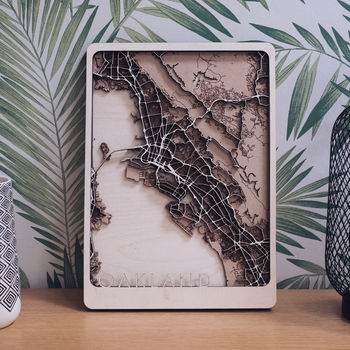 Oakland Multi Layer Wooden Map