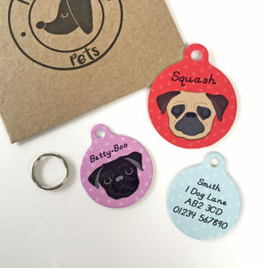 Pug Personalised Dog ID Name Tag - dogs