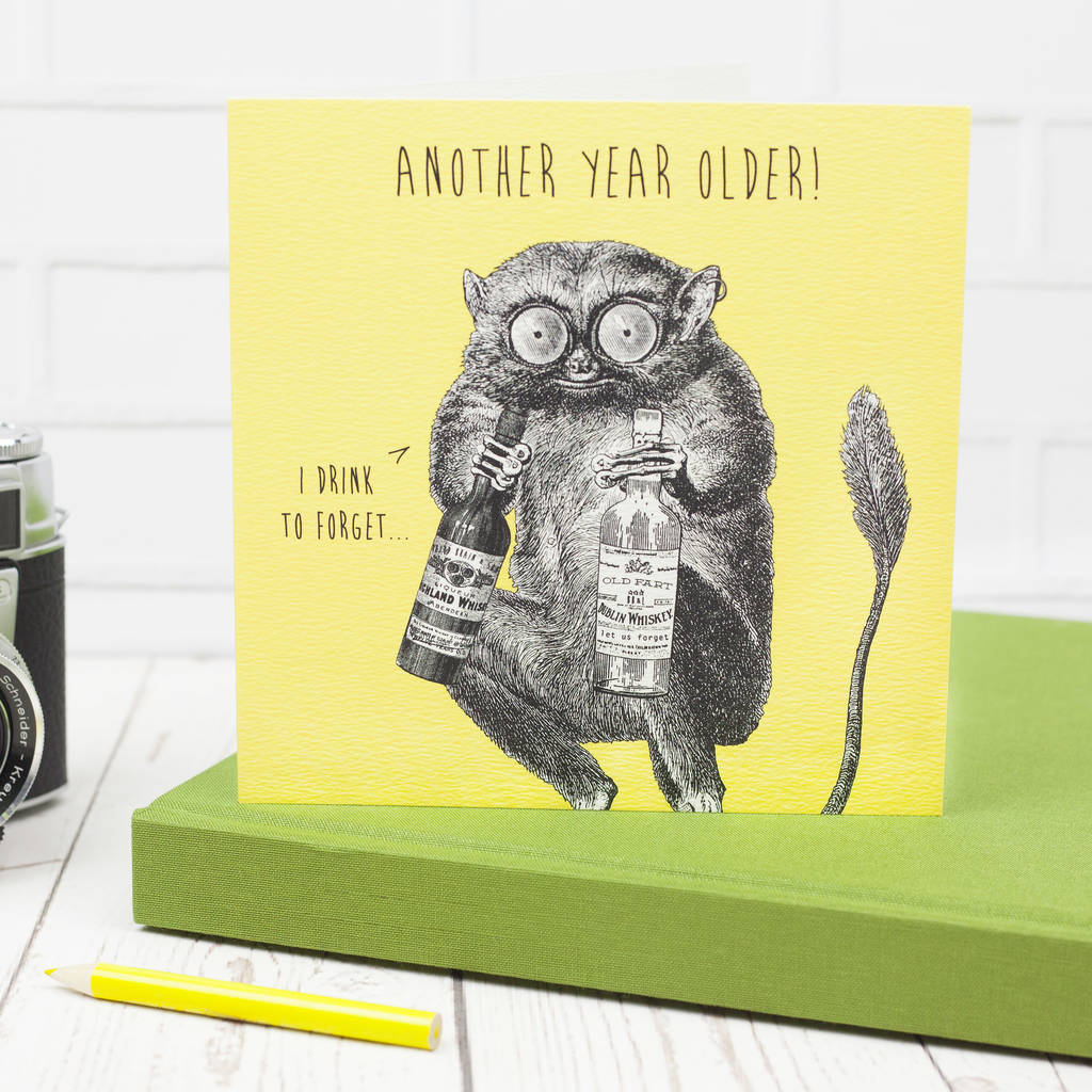 Funny Birthday Card Terrified Tarsier By Bird Brain London