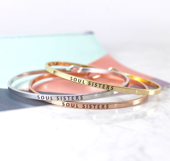 Soul Sister Stacking Message Cuff Bracelet