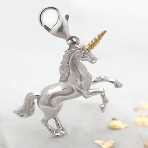 Sterling Silver And Gold Clip On Unicorn Charm - charms, charm bracelets & necklaces