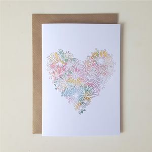 Floral Watercolour Heart Greetings Card - blank cards