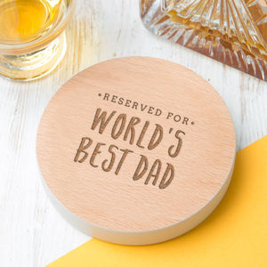 Worlds Best Dad Premium Wooden Drinks Coaster