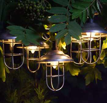 Outdoor Solar Galvanised Lantern Light Garland