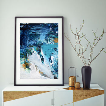 Tranquil Blue Abstract Art Print Framed