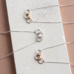 Silver Necklace With Silver, Gold Or Rose Gold Links