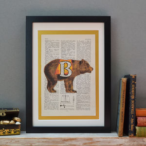 Personalised Bear Letter Print - pictures & prints for children