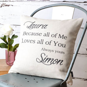Loving All Of You Couple Cushion Cover - personalised cushions