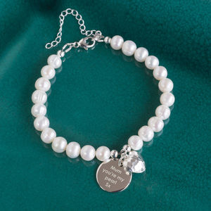Personalised Pearl Pendant Bracelet - for children