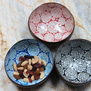 Cracked Eggshell Pattern Coconut Shell Snack Bowl - bowls
