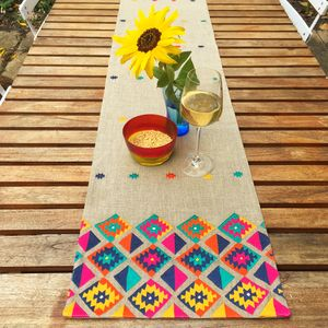 Boho Phulkari Table Runner