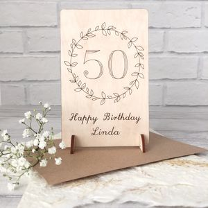 Personalised 50th Birthday Wooden Card - birthday cards