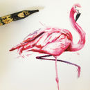 Inky Flamingo Tea Towel