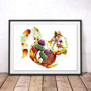 Ginger The Floral Squirrel Fine Art Print
