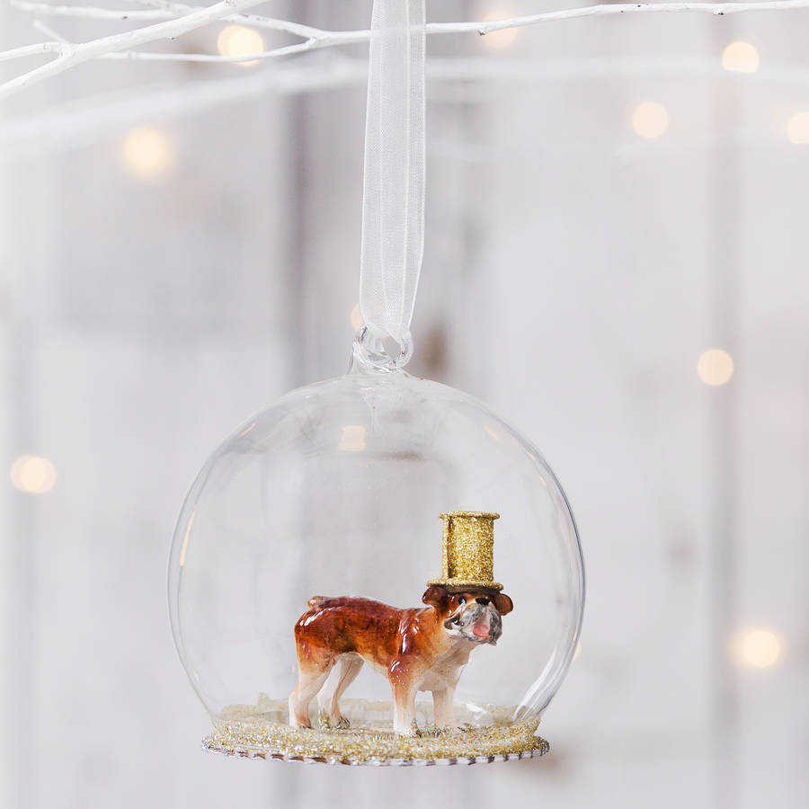 Party Bull Dog Glass Decoration