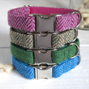 Herringbone Harris Tweed Dog Collar - dog collars