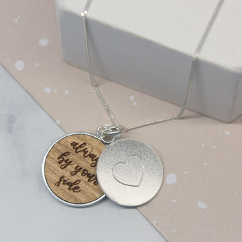 Personalised Heart Secret Message Disc Necklace