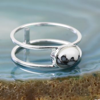 Sterling Silver Oval Marble Ring