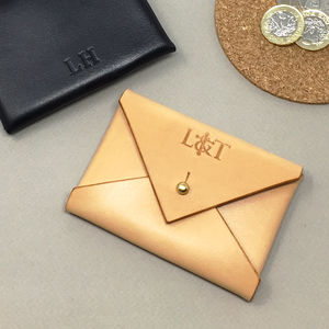Personalised Leather Envelope Card Holder