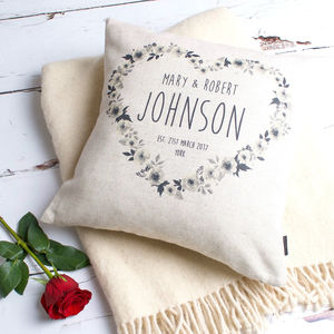 Flowery Personalised Couple Cushion Cover - bedroom