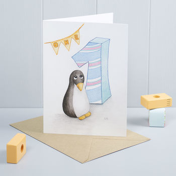 Happy 1st Birthday Penguin Greeting Card