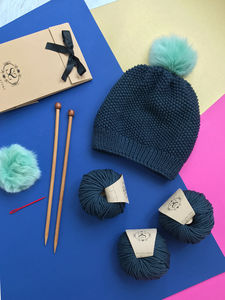 Fur Pom Beginner's Hat Knitting Kit - hats, scarves & gloves