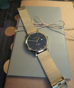 Gold Mesh, Black And Gold Watch