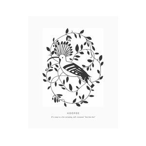 8x10 Letterpress Hoopoe Art Print - nature & landscape