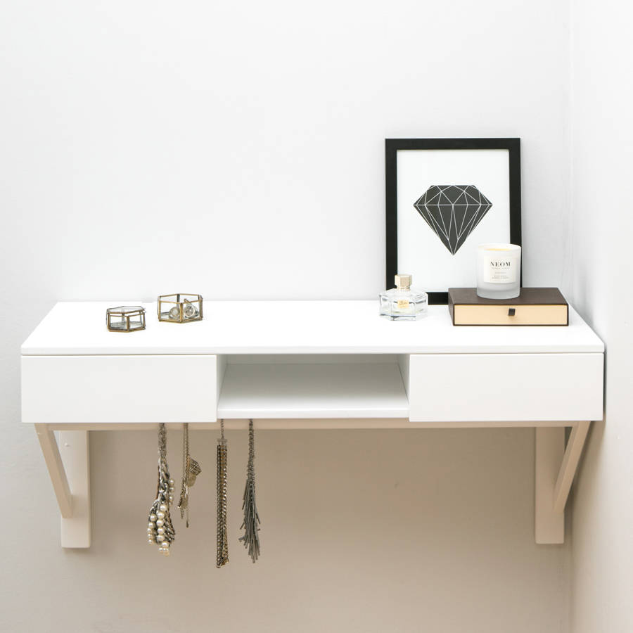 Floating Dressing Table With Drawers And Jewellery Rail By