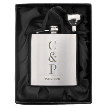 Personalised Silver Initials Hip Flask