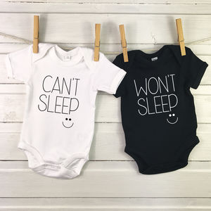 Monochrome Twin Babygrows Can't Sleep, Won't Sleep