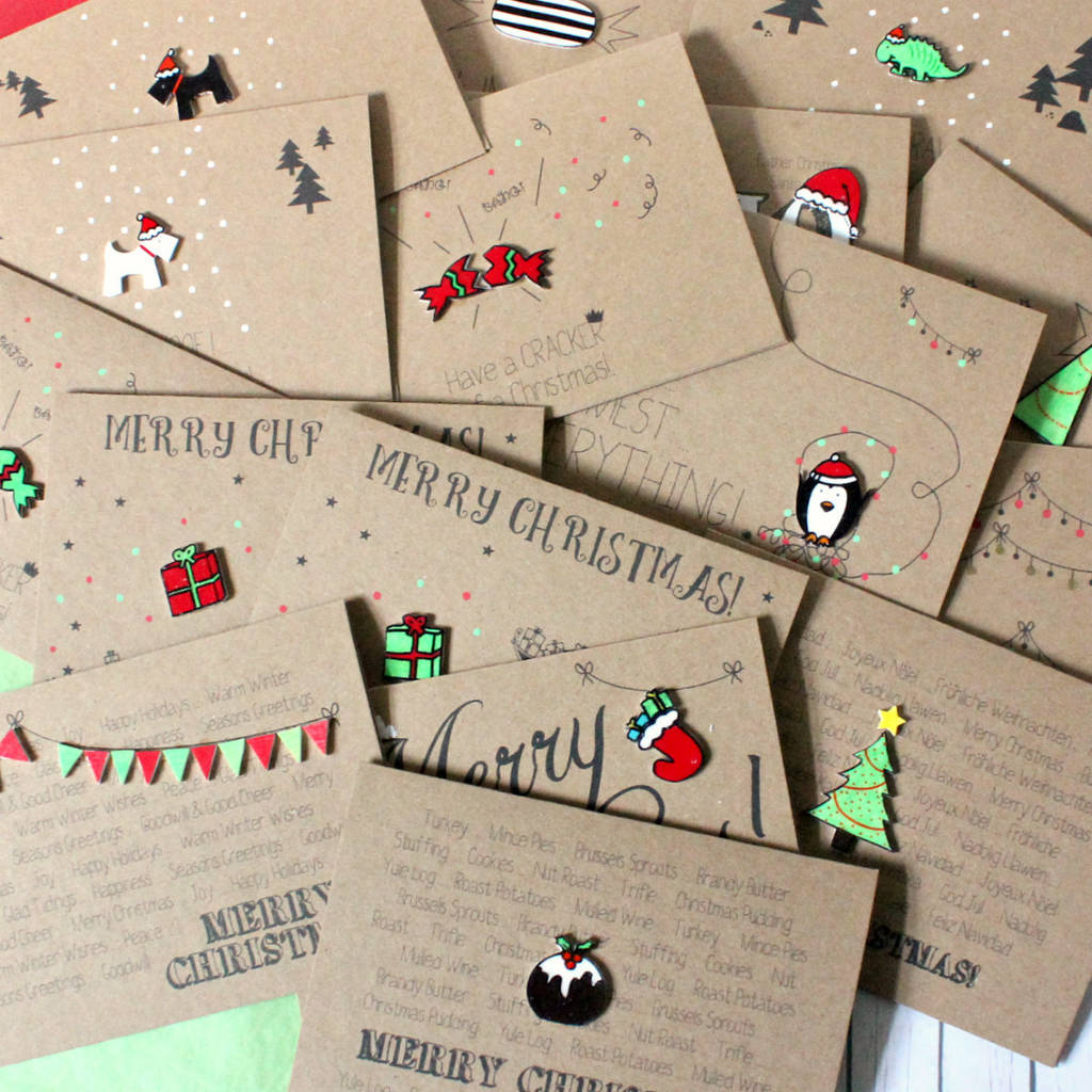 Handmade Christmas Card Pack Pack Of Christmas Cards By Little