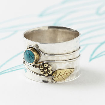 Turquoise Silver Flower Ring