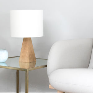 Oak Pyramid Small Table Lamp