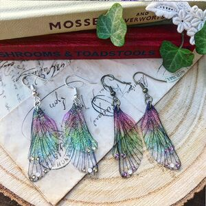 Sweet Pair Of Green And Pink Fairy Wing Earrings
