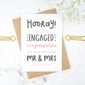 Personalised Mr And Mrs Engagement Card - engagement cards