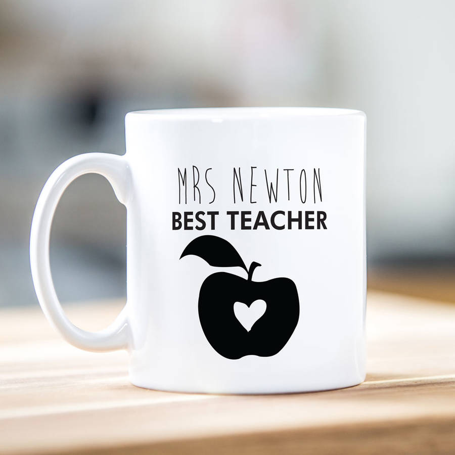 personalised teacher mug apple design by able labels. Black Bedroom Furniture Sets. Home Design Ideas