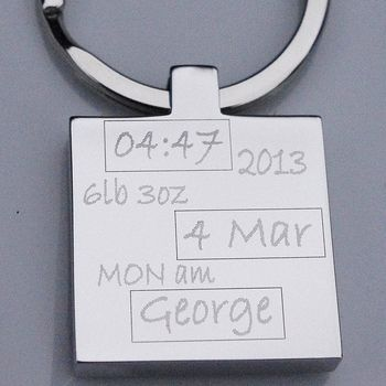 Personalised New Baby Keyring
